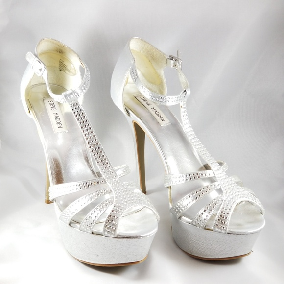 Steve Madden Silver Prom Shoes Heels Size 10